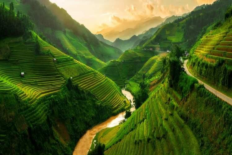 Serene mountains and valleys of Vietnam.